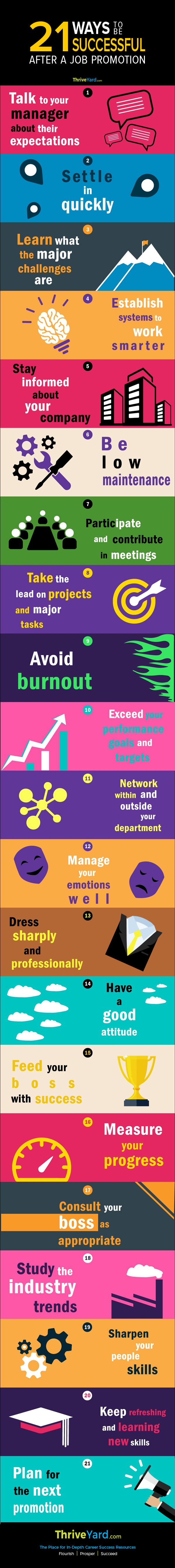 21 Ways to be Successful After a Job Promotion - Infographic