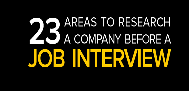 23 Areas to Research a Company Before a Job Interview - Infographic