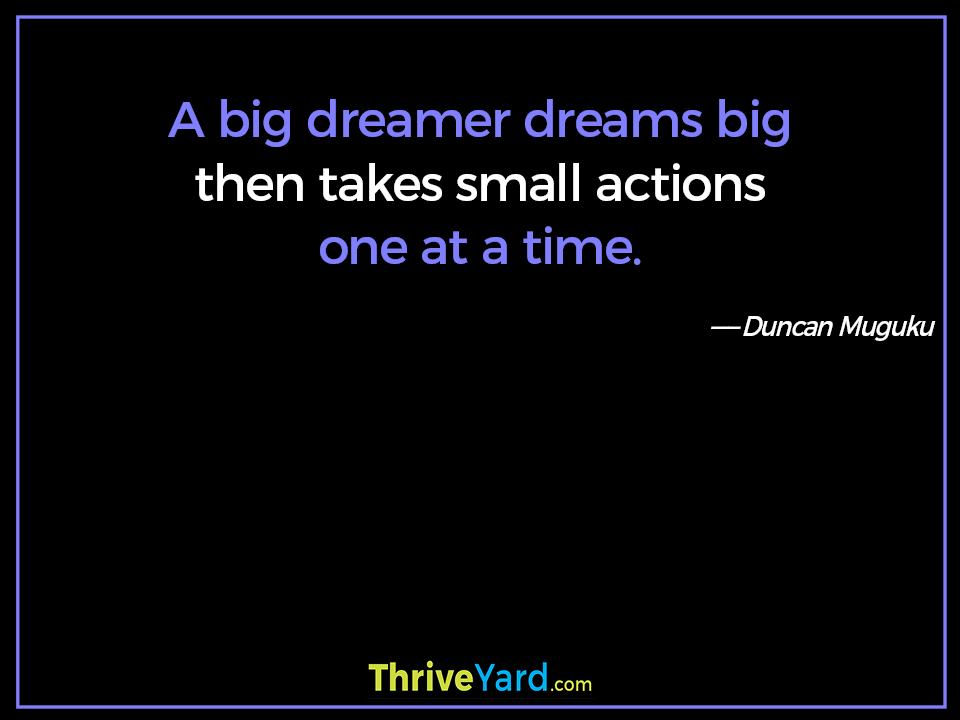 A big dreamer dreams big then takes small actions one at a time. ― Duncan Muguku
